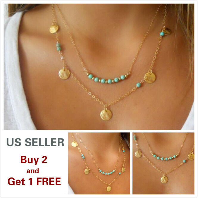 Double layer Fashion Women Turquoise Choker Necklace Charm Chain Jewelry F