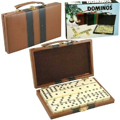 Domino Double Six - Ivory and Black Tilex with Metal Spinners Deluxe Travel Case