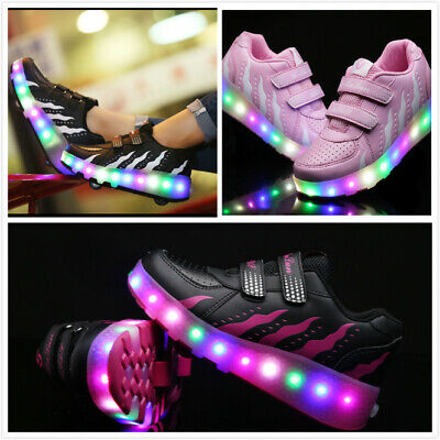 LED  Roller Skate Shoes Fashion Wheels Sneakers Kids Girls Boys Light Up Shoes