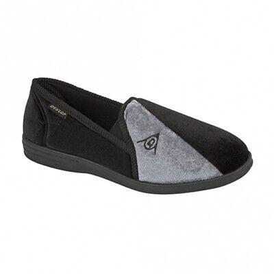 DUNLOP WINSTON Mens Full Slippers Black/Grey UK 7 EU 41 NH089 KK 02
