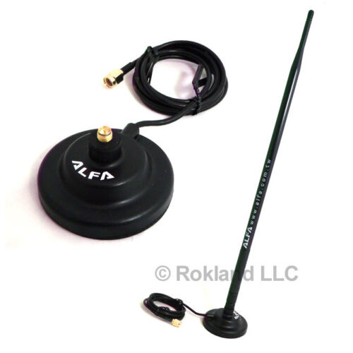 Alfa 9dBi WiFi RP-SMA OMNI-Directional High-Gain Swivel Antenna & magnetic base