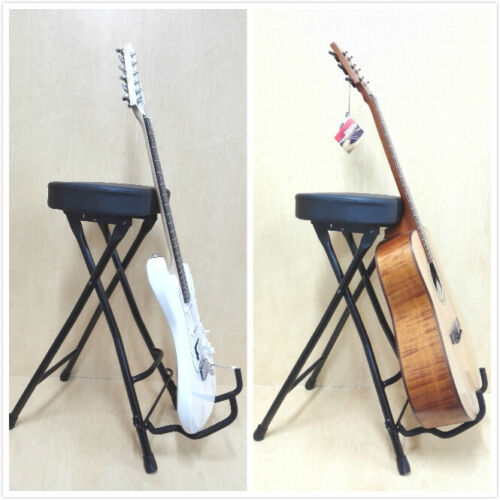 Haze KB010 Guitarist Performer Stool+Stand,Foldable w/Foot Rest,Soft Padded Seat