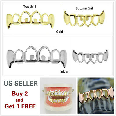 Halloween Exposed Teeth (Hip Hop Teeth Grillz Halloween Top Bottom Open face 14K Gold Silver Rose)