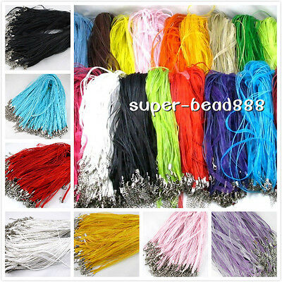 Free 10Pcs Silk Organza Voile Ribbon Cord Necklace Adjustable Lobster Clasp HOT Adjustable Ribbon Necklace Cord