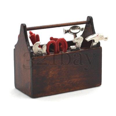 Miniatur Werkzeugkiste 1/6 Zubehör Miniaturen 1:6 Holzkiste Zange Hammer Schere