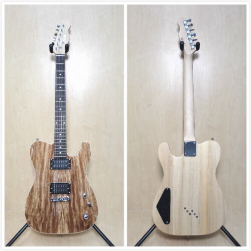 Haze HSTL 19210 Solid Basswood+Spalted Maple Veneer Electric Guitar,H-H+Free Bag
