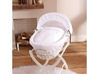 White leather VIB pram and buggy; Izziwotnot moses basket; and Graco duet rocker