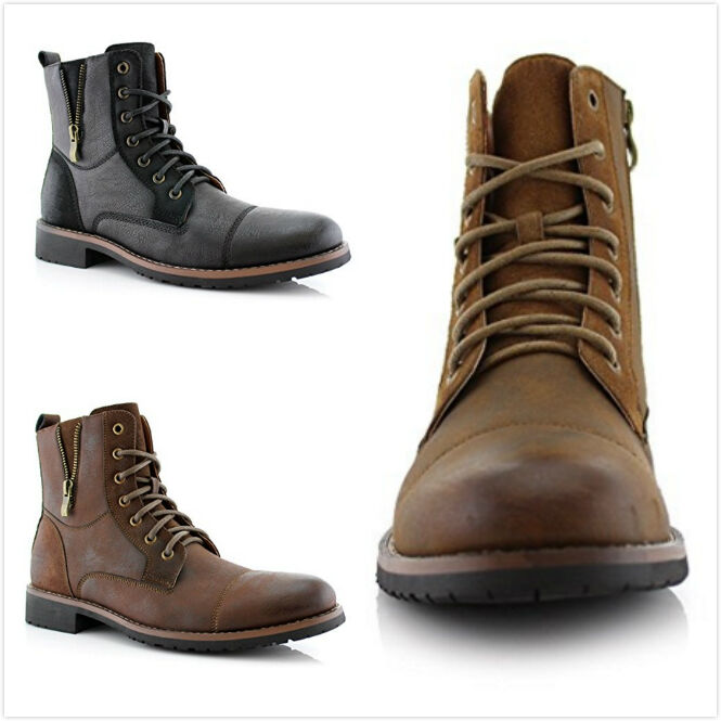 Boots - Brand New Men's Lace Up Cap Toe Side Zipper Military Combat Work Ankle Boots