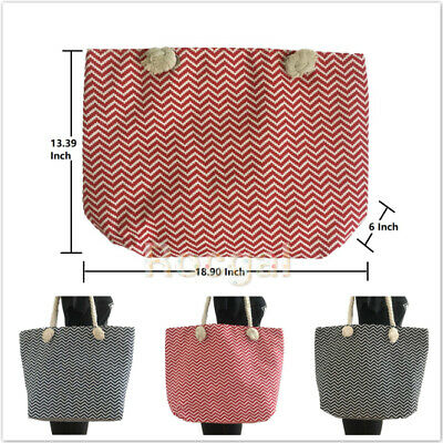 Fashion Women Summer Wavy Stripe Tote Large Zipper Beach Bag Shopper Travel