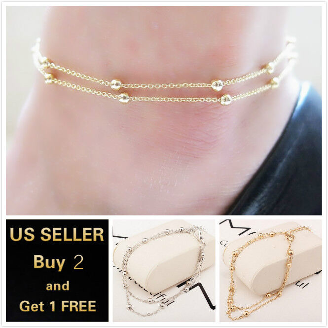 Double Layer Beads Gold Silver Anklet Ankle Bracelet Foot Chain