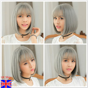 UK Stock! Ladies Short Straight Grey Fashion Bobo Soft Womens Wigs Cosplay hair
