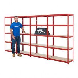 Shelving Unit Red Value Shelving 1780h x 900w x 450d mm 5 Levels 175kg UDL
