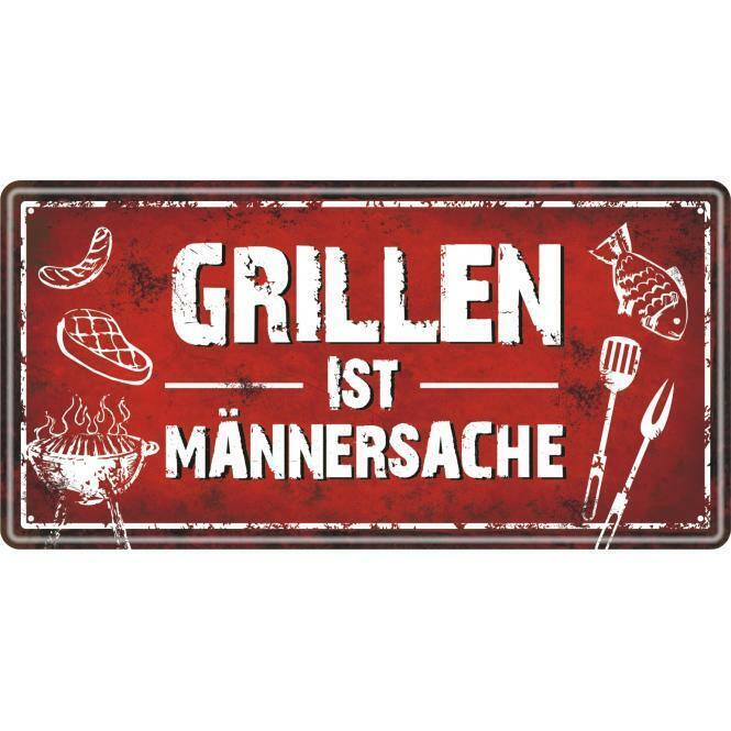 """Schild Metall """"Grillen ist Männersache"""" Blechschild Garten"""