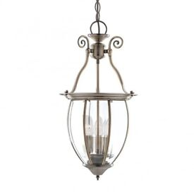 Two x Searchlight Lanterns 3 Light Ceiling Pendant Antique Brass (£30 each/£55 pair)