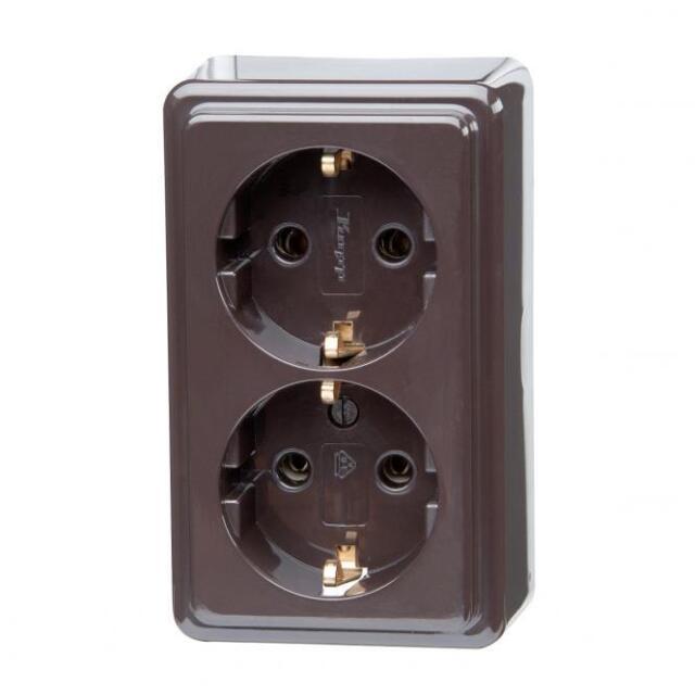 Kopp Schutzkontakt-Steckdose braun zweifach 2-fach Aufputz Neuware