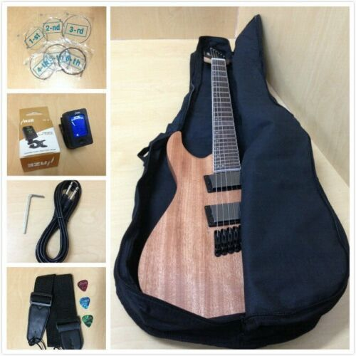 Haze 6FF Natural Oil Fanned-Fret Electric Guitar +Free Gig Bag,Digital Tuner