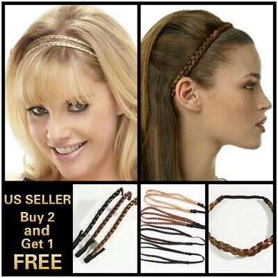 Women Girls Braided Faux Wig Elastic Rope Pretty Plaited Hair Band Headband - Hair Headbands