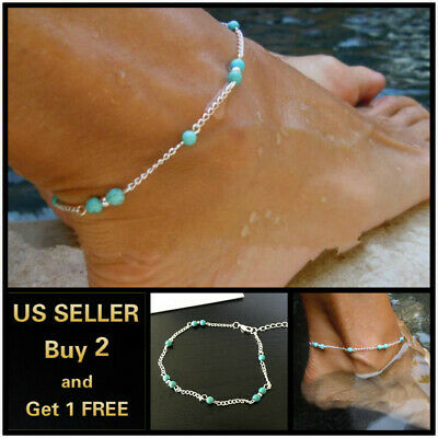 Boho Turquoise Bohemian blue beads Silver Anklet Ankle Bracelet Foot Chain