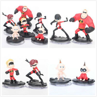 The Incredibles 2 Family Action Figure Toy Violet Dash Jack Doll Cake Topper 6Pc
