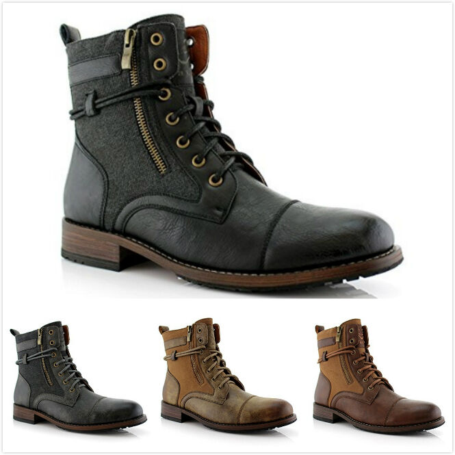 Boots - New Men's String Strap Lace up Dual Zip Casual Dress Ankle High Flat Boots Shoes