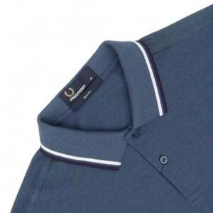 Fred Perry Polo pour homme Slim Fit Small Blue Carbon