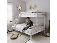 Triple white wooden bunk bed with memory foam mattresses