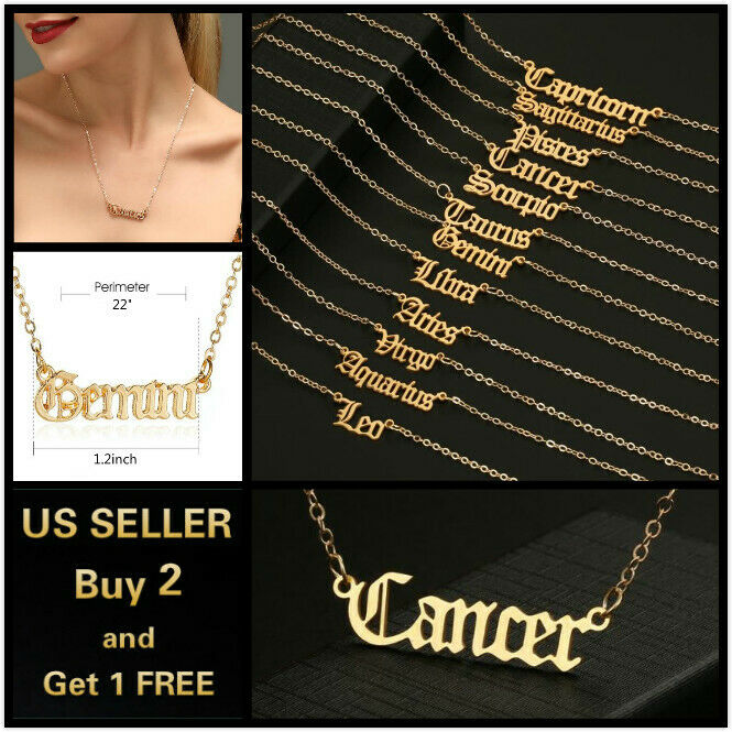 Jewellery - Women Gold Necklace Simple Letters Twelve Constellations Pendant Choker Jewelry