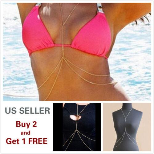 Body Chains Full Metal Chest Breast Bikini Bra chain Style A Gold