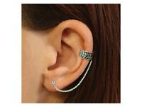 NEW Single 925 Sterling Silver Twine Ear Cuff with chain