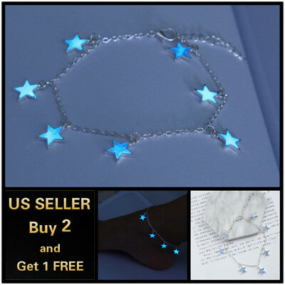 Blue Luminous Star Anklet Ankle Bracelet Foot Chain