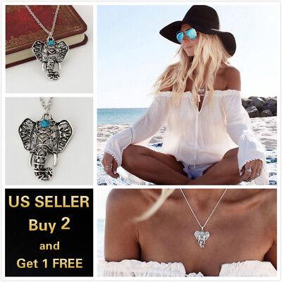Elephant Pendants (Silver Vintage Elephant Pendant Necklace Chain)