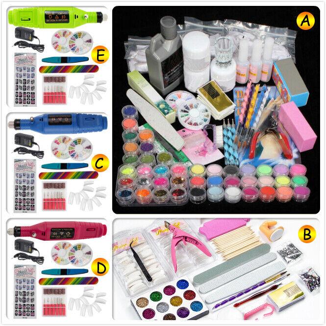 Nail Art Set Tips Acrylic Powder Liquid Brush Glitter Nail D