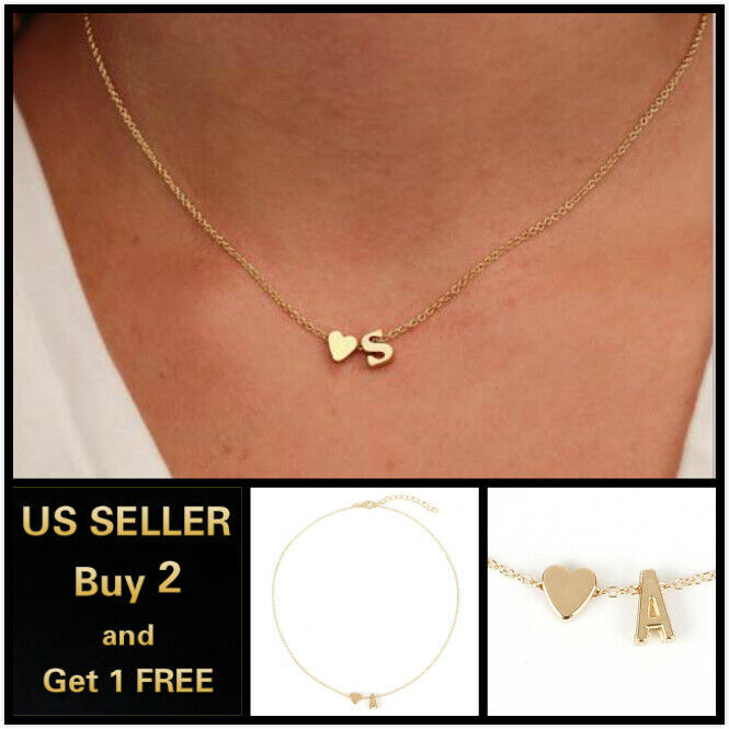 Jewellery - 26 Alphabet Initial Letters Heart Gold Necklace Chain Pendant Bridesmaid Jewelry