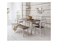 Beautiful shabby chic dining table, 5 chairs & bench for sale in white & dark pine - 8 seater