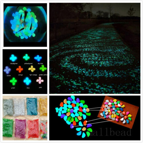 100x-Glow-in-the-dark-Pebbles-Stones-Fish-Tank-Home-Garden-Path-Decor-Luminous