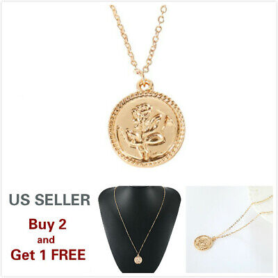 Fashion Women Gold Rose Coin BOHO Pendant Long Chain Sweater Necklace Gift C