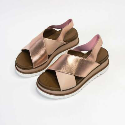 Inuovo Rose Gold Cross Strap Wedge Sandal, 38