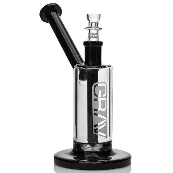 """GRAV Labs 7"""" Upright Bubbler — Black Accent w/ 14mm Cup Bowl — New In Box"""
