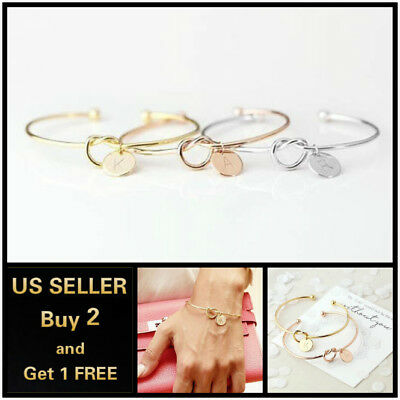 26 Initial Letters Charm Open Bracelet Bangle Cuff Love Knot Alloy Women Jewelry](Bangle Charm Bracelets)