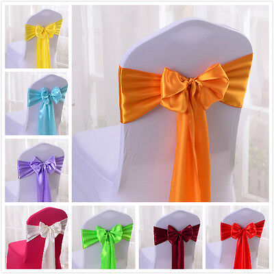 Satin Chair Cover Sash Bows Baby Shower Anniversary Banquet Wedding Decor Untied - Bridal Shower Chair