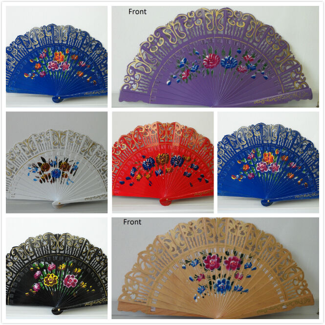 New Wood Spanish Flamenco Vintage Wooden Folding Hand Fan Both Side Painted