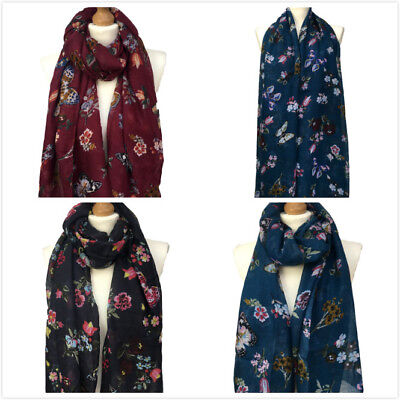 New Women  Butterfly Print Large Scarf Ladies Floral  Pashmina Snood Fancy Hijab - Butterfly Print Scarf