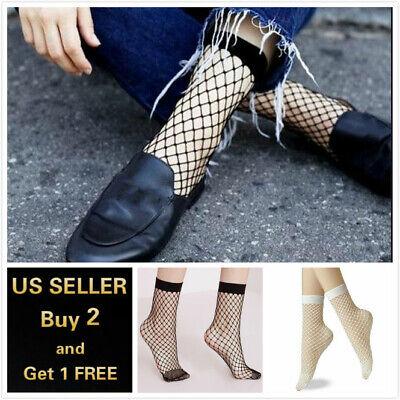 Women White Black Fishnet Ankle Socks Fashion Sexy Short Stocking Hosiery Mesh Black Fishnet Hosiery