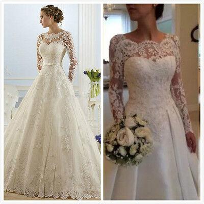 Long Sleeve White Ivory Mermaid Lace Wedding Dress Bridal Gown Stock Size 6 18