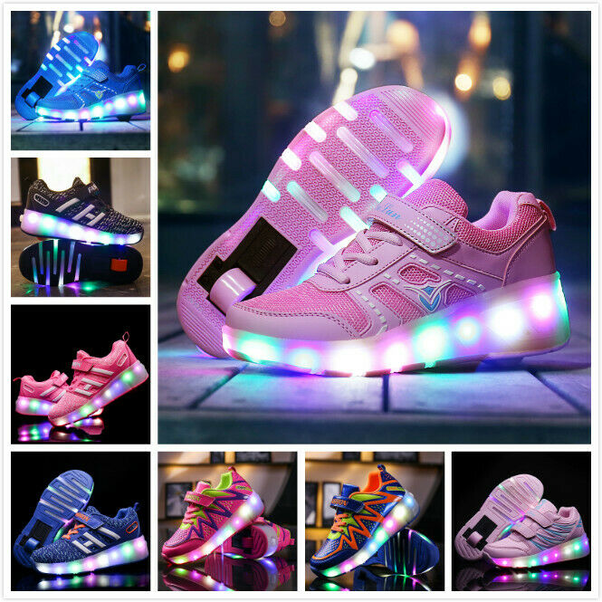 LED Heelys Wheels Boys /& Girls Shoes Skates Kids Light Up Roller Skate Trainers