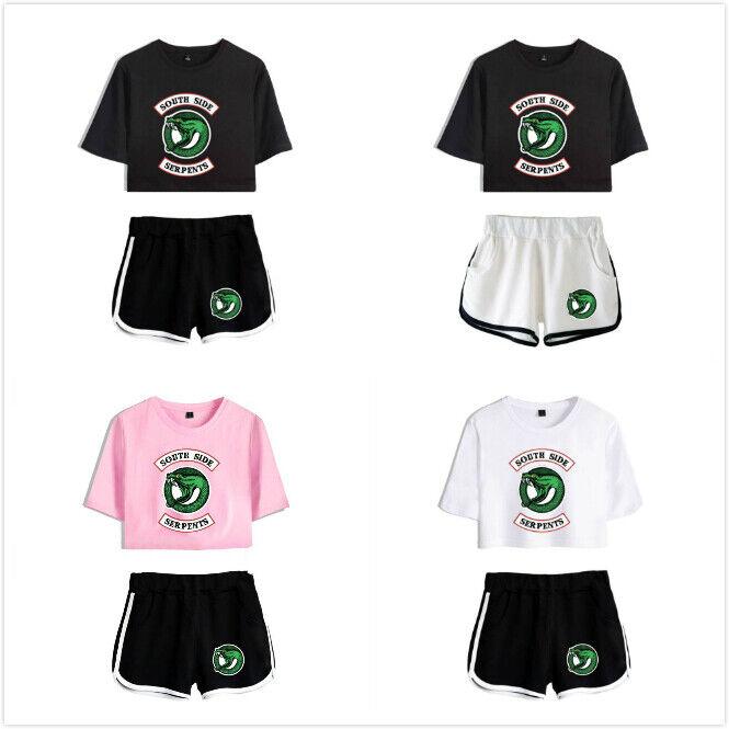 Riverdale Cool Beliebt Frau Beiläufig Drucken Ernte oben T-Shirt und Kurze Hose