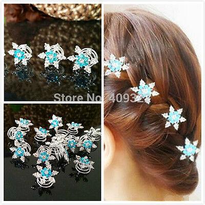 Snow flake Bridal Wedding Prom Crystal Diamonte Twists Spin Hair Frozen Elsa UK ()