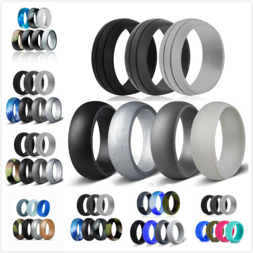 7 Pack Silicone Wedding Engagement Ring Men Women Rubber Band Gym Sports Ship Us