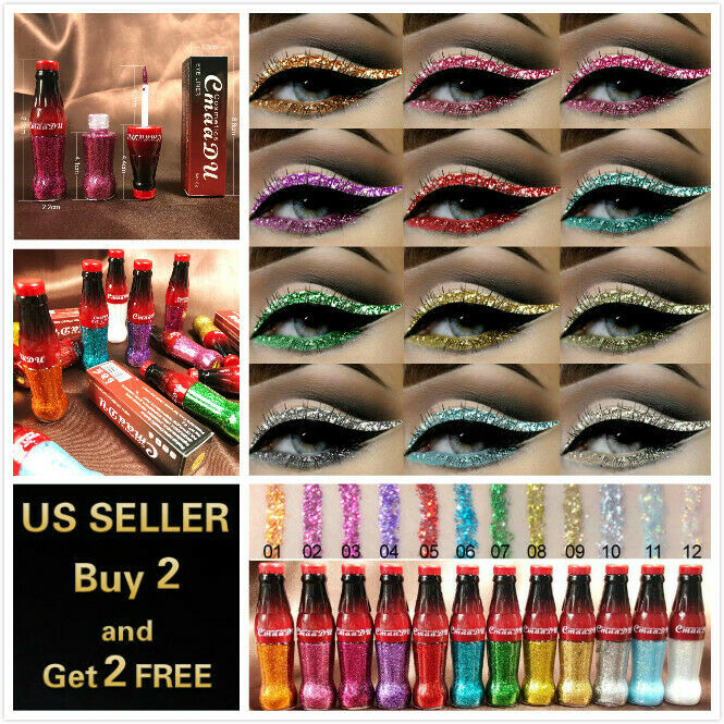 12 Colors GLITTER Waterproof Eyeshadow Liquid Eyeliner Makeup Shimmer Metallic