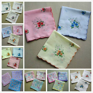 Lot 10 pcs Cutter Ladies Womens Vintage Cotton Hanky Hankie Floral Handkerchief